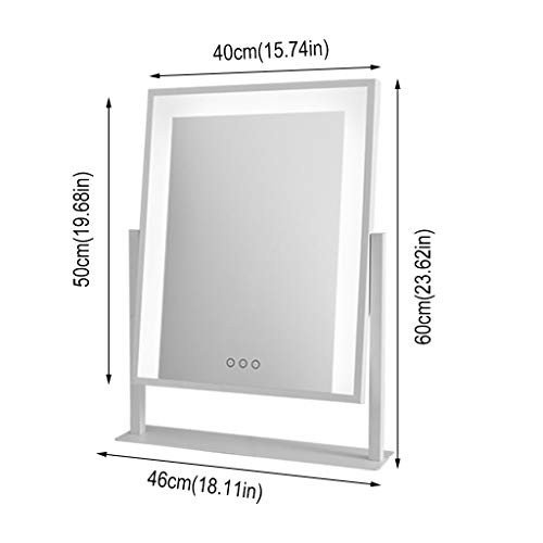 化粧スタンドアップミラー、3色光タッチコントロール調光卓上化粧鏡長方形、シングルミラー寝室、リビングルームに適して (Color : 白い)