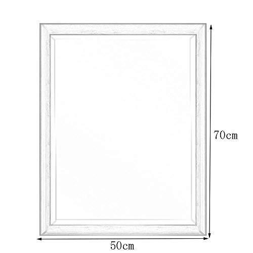 ビンテージミラーソリッドウッド - ぼろぼろのシックな壁ミラー - バスルームのラウンジの廊下 - 素朴なカントリースタイル(色:白、サイズ:75