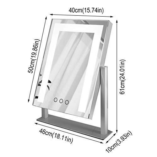 スタンド付き化粧鏡、フリースタンディングポータブル回転360°シングルミラー寝室に最適、化粧台美容鏡 (Color : 白い)
