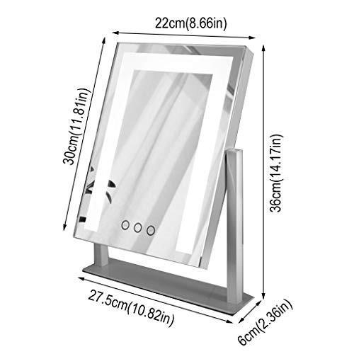 化粧台ミラー、タッチスクリーン美容ミラー回転360°3色ライト寝室、ドレッシングテーブルに適して 化粧台ミラー、タッチスクリーン美容ミラー回転360°3色ライト寝室、ドレッシングテーブルに適して (Color : 黒)