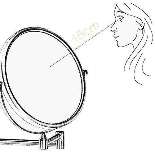 北欧両面壁掛けミラー、回転可能な伸縮式バスルーム/化粧鏡、お手入れの簡単な防水(色:シルバー、サイズ:穴あけ-15cm) 北欧両面壁掛けミラー、回転可能な伸縮式バスルーム/化粧鏡、お手入れの簡単な防水(色:シルバー、サイズ:穴あけ-15cm)