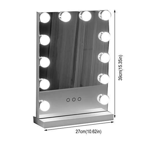 ミラーおよびライトが付いている化粧台、12の調光対応の球根専門の照らされた化粧品ミラーが付いている小さい10.62inX15.35in (Color