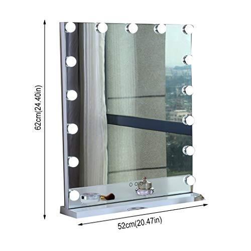 Selm 長方形の化粧鏡のカウンタートップ、15電球化粧品ミラー付き調光化粧台ミラー寝室に適して (Color : 白い)