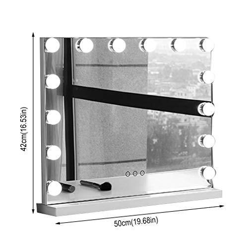 化粧鏡カウンター、プロフィルライト19.68inX16.53in付き14調光電球デスクトップミラードレッシングテーブルミラー (Color :