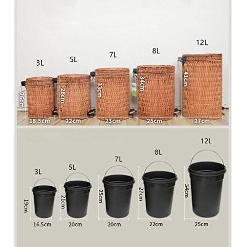 ZHPLZD ZHPLZD ZHPLZD ゴミ箱 ふたの世帯のゴミ箱が付いているタケ藤の中国のバケツのゴミの足 (Size : 5l) 9f9