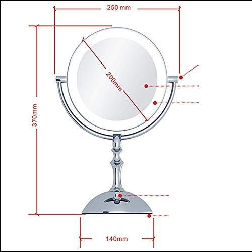 洗面化粧台ミラー 洗面化粧台ミラー ドレッシングミラー(ライト付き)、360°回転化粧鏡、3倍拡大ライトアップ化粧鏡両面丸め化粧鏡、バスルームミラー 化粧鏡