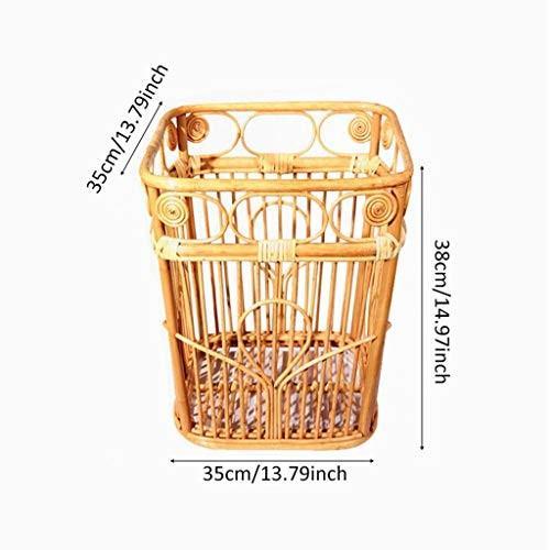 大容量 クリエイティブヴィンテージラタンダスビネス、雑貨服ボックスホテル保管庫家庭ごみ箱 (Color : Wood, サイズ :