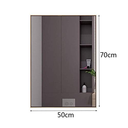 Selm 北欧のステンレス鋼の浴室用ミラーの壁に取り付けられた化粧品ミラーの美ミラー 北欧のステンレス鋼の浴室用ミラーの壁に取り付けられた化粧品ミラーの美ミラー (Size : 50X70cm)