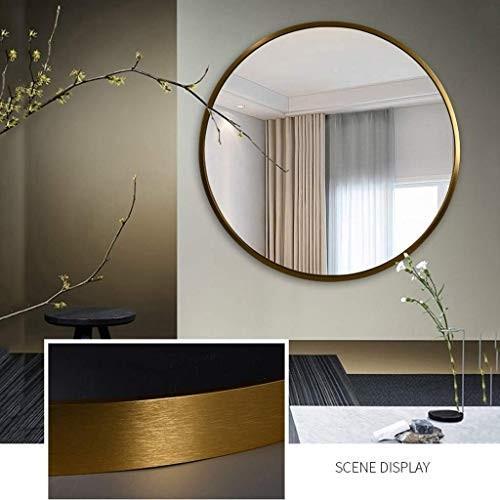 Selm 北欧のステンレス鋼の浴室の虚栄心ミラーメッキ起毛真鍮ゴールド美容ミラー浴室用ミラー (Color : ゴールド, Size : 80cm)