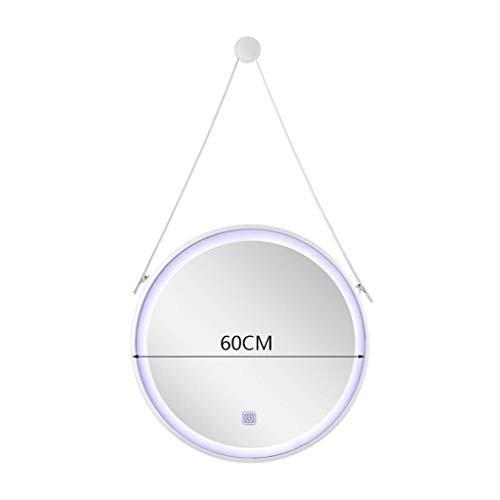 Selm 化粧鏡ヨーロッパラウンド壁掛け浴室用ミラー付きライトラウンドホーム充電式錬鉄製フィルライトミラー (Color : : 白い, Size