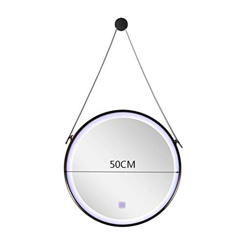 Selm Selm 化粧鏡ヨーロッパラウンド壁掛け浴室用ミラー付きライトラウンドホーム充電式錬鉄製フィルライトミラー (Color : 黒, Size