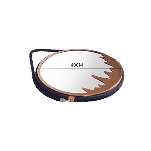 Selm 化粧鏡、壁掛けバスルームミラーウォッシュビューティーヨーロッパとアメリカの麻ロープ吊りミラー (Color (Color : ゴールド, Size :