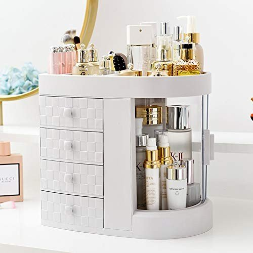 FChome化粧オーガナイザー引き出し付き、180°回転多機能化粧品収納ボックス、大容量、Lvoryホワイト