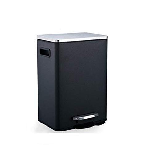 ゴミ箱 ステンレス鋼 ペダル,世帯 キッチン 浴室 リビングルーム リビングルーム リビングルーム 覆われた 紙かご-黒-12L ca2