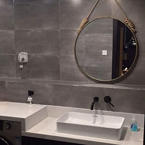 TYJ-JP ミラーシンプルな化粧ミラー壁掛け装飾HD虚栄心北欧スタイルプリンセスミラーパンチフリーガラスミラー (Color : Bronze,