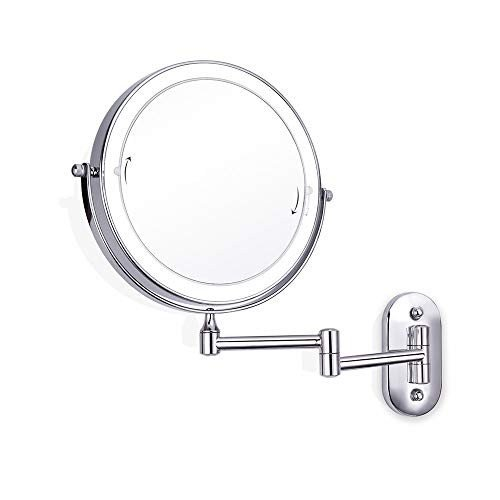 化粧鏡 LED照明壁掛け化粧鏡3倍/ LED照明壁掛け化粧鏡3倍/ 5倍/ 7倍/ 10倍倍率8インチ両面回転タッチスクリーンバニティミラー拡張可能 メイクアップに最適 (色 :