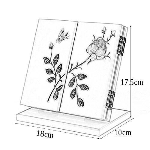 CONCEN CONCEN 三つ折り化粧鏡、携帯用トラベルミラー、トラベルフォールド化粧鏡、木製 (Color : ピンク)