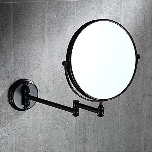 化粧鏡 8インチ両面回転拡張可能浴室化粧鏡3倍拡大壁マウント化粧鏡折りたたみ美容ミラー寝室シェービングミラー (色 (色 : ブラック, サイズ :