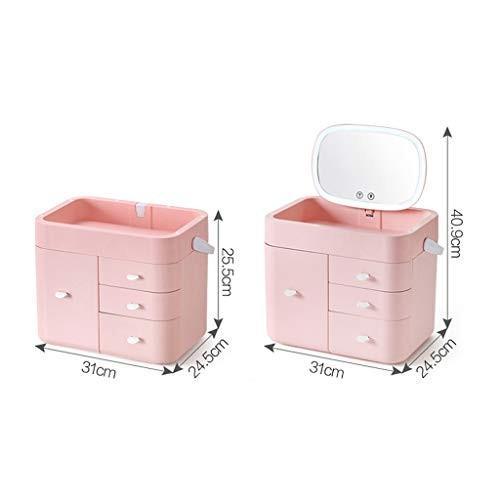 高品質化粧鏡 LED化粧鏡化粧品収納ボックス付きライトバニティミラーデスクトップミラースキンケア製品ラック ポータブル (Color (Color (Color : 8d9
