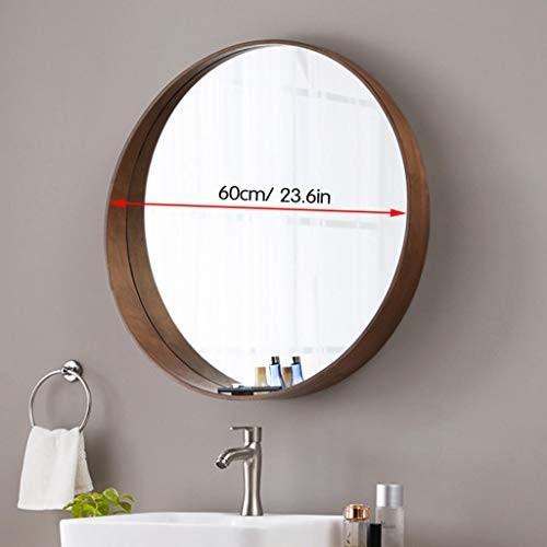 バスルームの化粧台ミラーウォールミラー、レインウォールハンギング付きバスルーム、ラウンドミラー、装飾的なミラー、寝室用化粧台、バスルーム(木材)