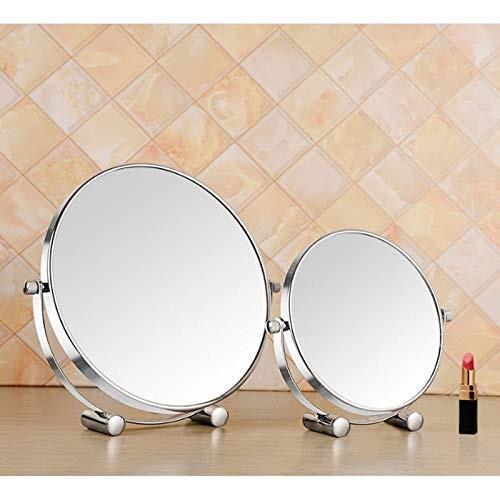 家庭用化粧鏡デスクトップオフィス女性キャリードレッシングミラー増幅両面ミラーHDラウンドミラー 家庭用化粧鏡デスクトップオフィス女性キャリードレッシングミラー増幅両面ミラーHDラウンドミラー (Size : L)