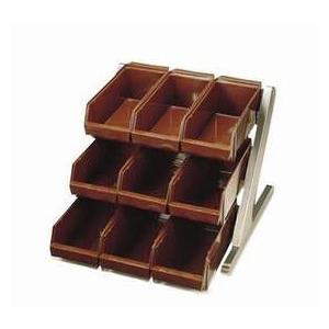 18-8 デラックスオーガーナイザー 3段3列(9ヶ入)グレー 品番:4-0684-0701 カトラリー 箸入れ 注意※画像はブラウンを使用しています。
