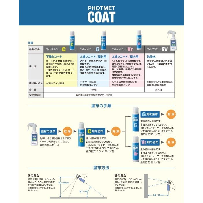 光で除菌と消臭 フォトメットコート エアゾルスプレーC 1ケー ス(80g×48本) 防菌 防汚|hikari-club|03