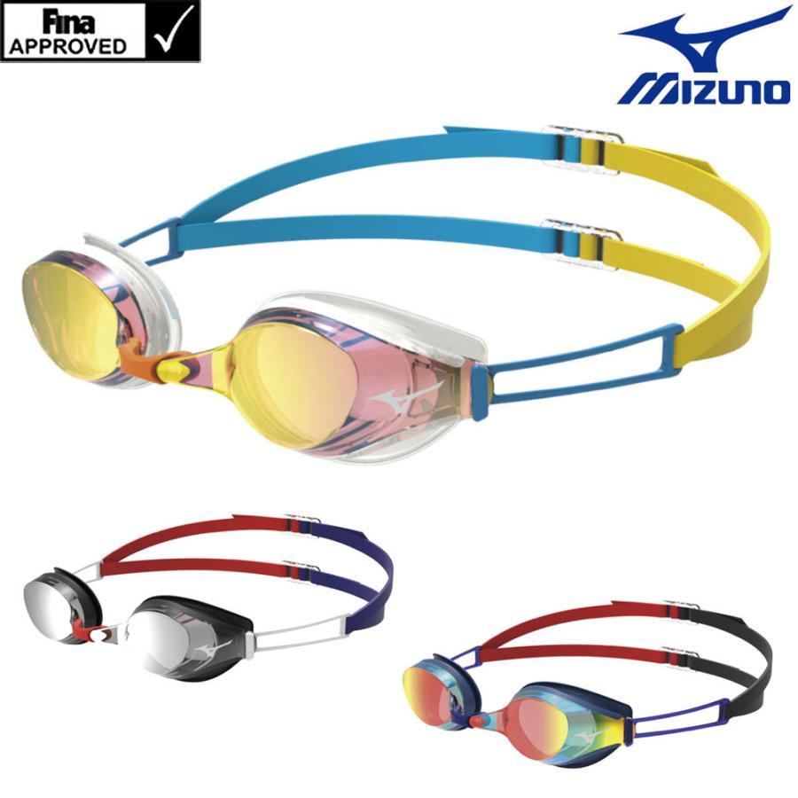 スイミングゴーグル 競泳 セール特価 レーシング FINA承認 贈与 ミラーゴーグル アクセルアイエス クッション付き ミズノ N3JE4036