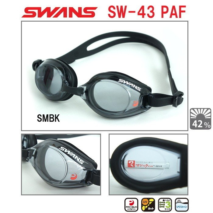 スイムゴーグル SWANS スワンズ フィットネス クッション付き 水泳 新色 SW-43PAF-SMBK PREMIUM クリアタイプ ANTI-FOG 《週末限定タイムセール》
