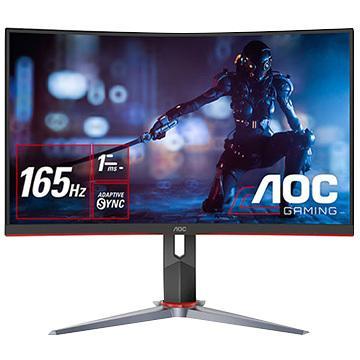 AOC 23.6型ワイド165Hz対応ゲーミング曲面液晶ディスプレイ 日本製 アイテム勢ぞろい ブラック FHD DP HDMI D-Sub 昇降 C24G2 11 スウィーベル