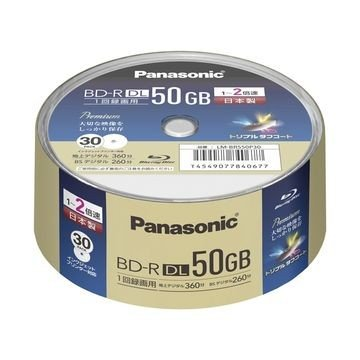 人気 Panasonic 録画用2倍速BD-R 捧呈 DL 50GB LM-BRS50P30 スピンドル30枚パック