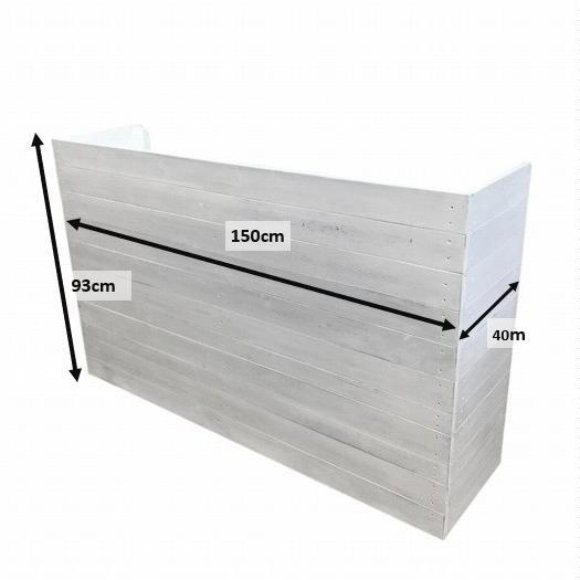 木製レジカウンター・受付カウンター_幅150cm×奥行40cm×高さ93cm_アンティークホワイト_C013AWH hikariya-netshop 07