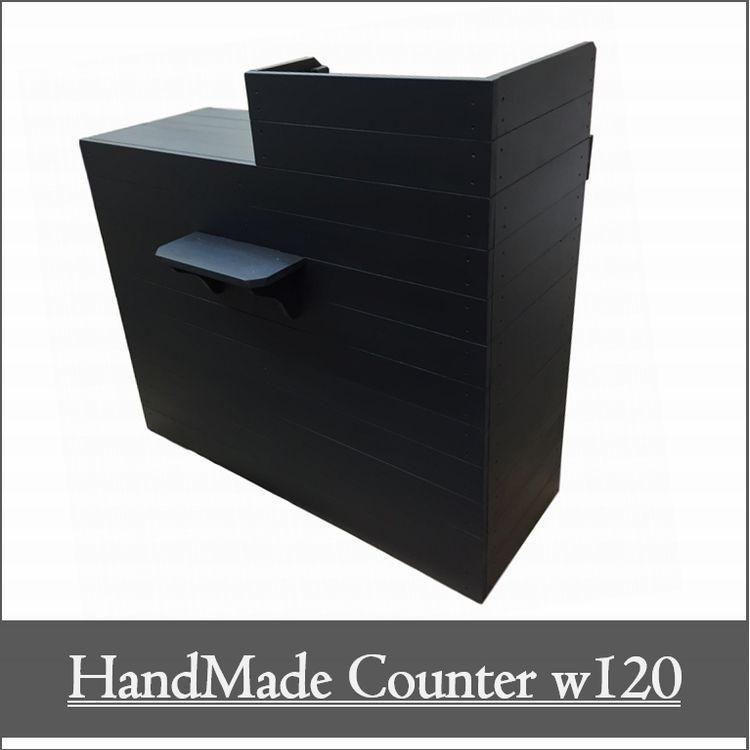 木製レジカウンター·受付カウンター_幅120cm×奥行60cm×高さ108cm_ブラック_UN812MBK