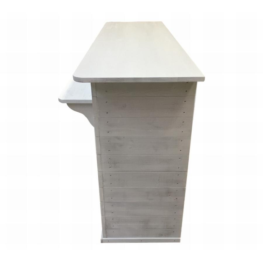 木製レジカウンター・受付カウンター_幅150cm×奥行58cm×高さ92cm_アンティークホワイト_UN819AWH hikariya-netshop 04