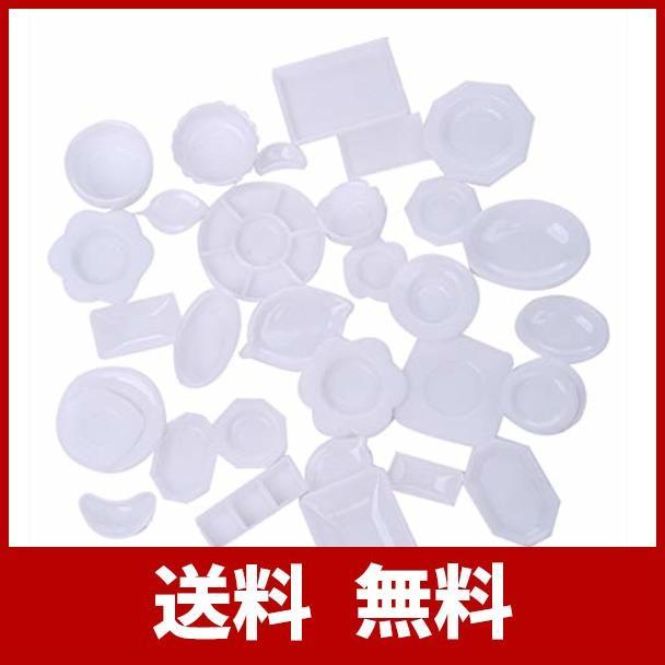tomtask ドールハウス ミニチュア プラスチックプレート お皿セット 33点セット 1/12 スケール 白|hikazuco