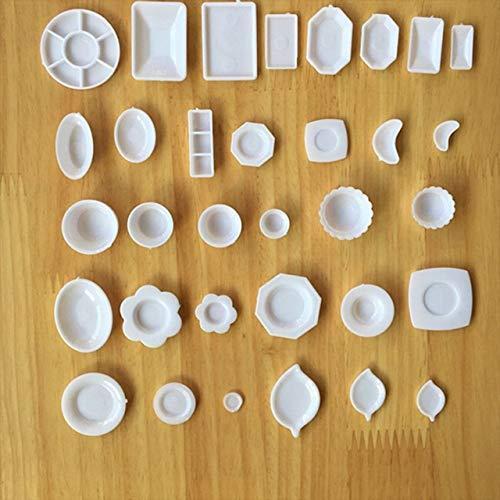 tomtask ドールハウス ミニチュア プラスチックプレート お皿セット 33点セット 1/12 スケール 白|hikazuco|02