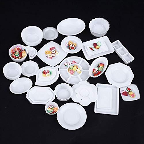 tomtask ドールハウス ミニチュア プラスチックプレート お皿セット 33点セット 1/12 スケール 白|hikazuco|04