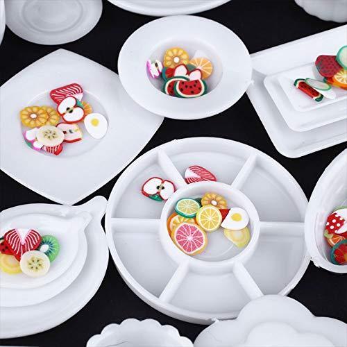 tomtask ドールハウス ミニチュア プラスチックプレート お皿セット 33点セット 1/12 スケール 白|hikazuco|05