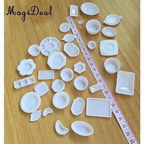 tomtask ドールハウス ミニチュア プラスチックプレート お皿セット 33点セット 1/12 スケール 白|hikazuco|06