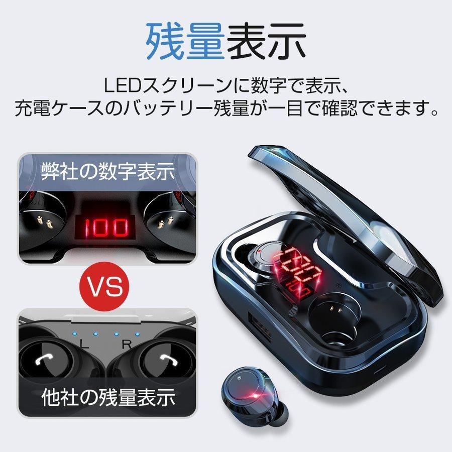 ワイヤレスイヤホン bluetooth5.1 ブルートゥース 5000mAh大容量 自動接続 両耳重低音 LED残量表示 IPX7防水 iPhone/Android対応|hillnup|04