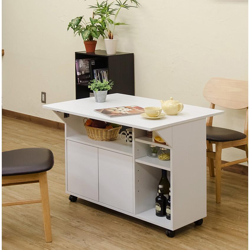 キャスター付き天板バタフライテーブル デスク キッチンワゴン カウンターテーブル ダイニングテーブル|himalaya