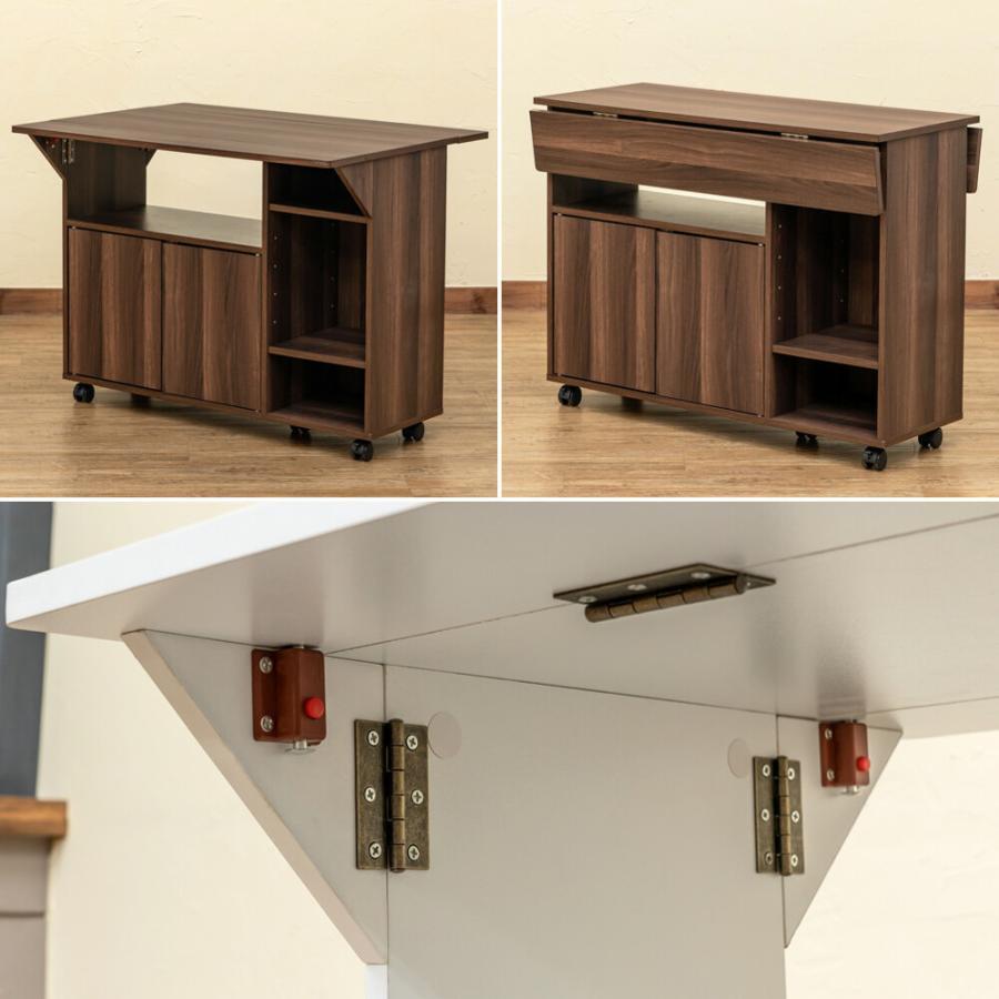キャスター付き天板バタフライテーブル デスク キッチンワゴン カウンターテーブル ダイニングテーブル|himalaya|07
