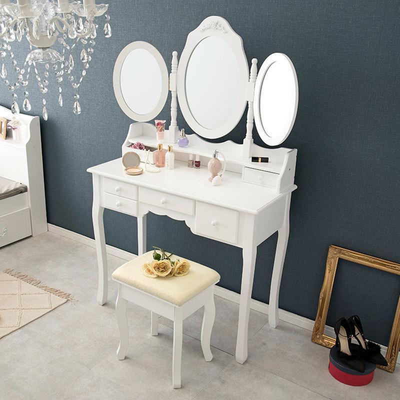 三面鏡鏡台ドレッサー白ホワイト椅子付き|himalaya
