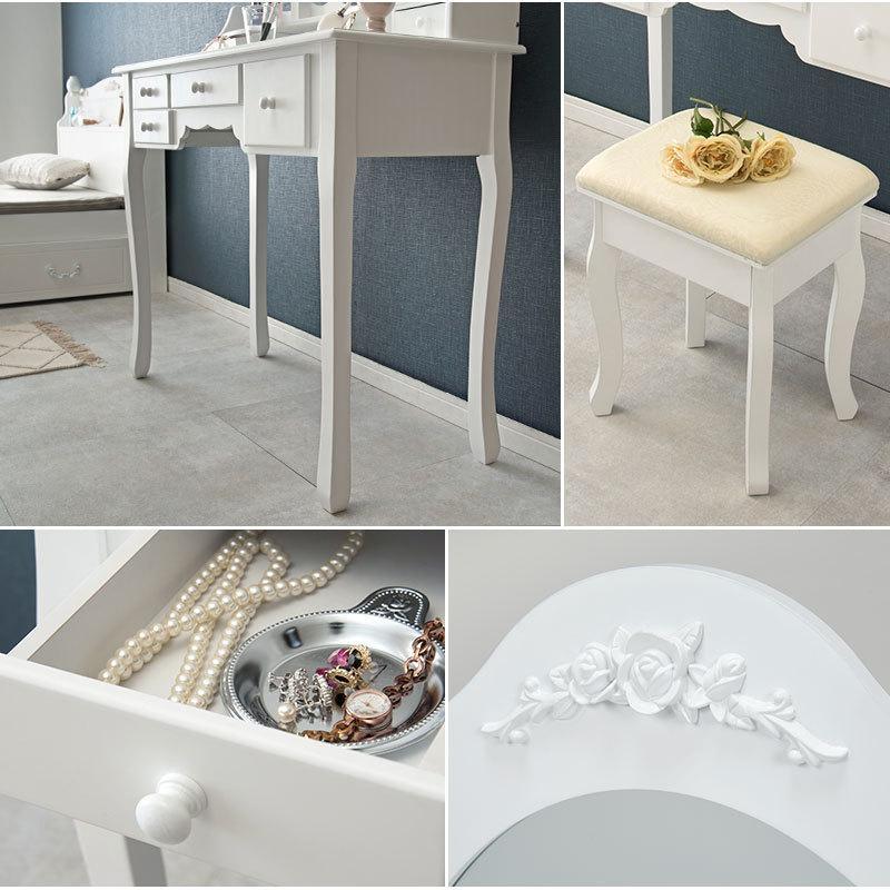 三面鏡鏡台ドレッサー白ホワイト椅子付き|himalaya|11