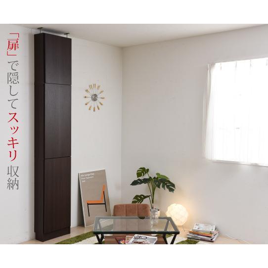 壁面収納突っ張り薄型本棚扉付き目隠しキャビネットふた(とびら)付きなので壁と同化 himalaya