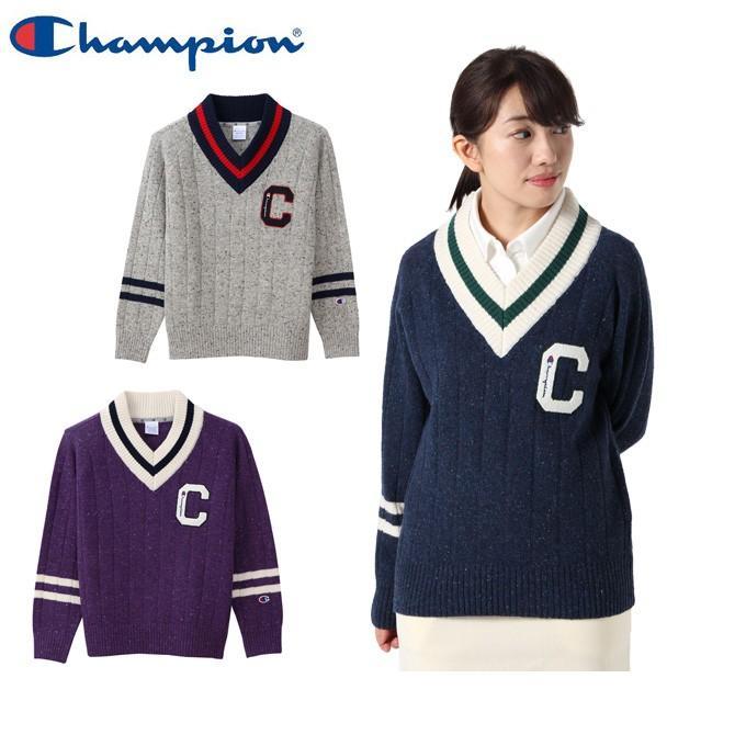チャンピオン Champion ゴルフウェア セーター レディース ウールニットVネック CW-QGA01