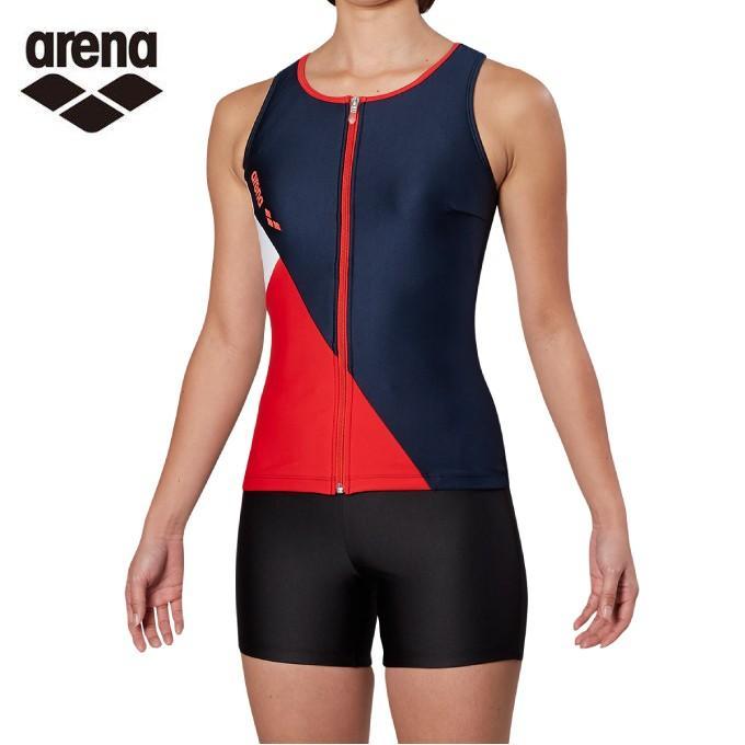 アリーナ arena フィットネス水着 セパレート レディース 大きめカラースナップ付きHASSUIセパレーツ ぴったりパッド FLA-9935W-NVRD