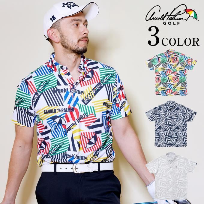 アーノルドパーマー arnold 正規品送料無料 palmer ゴルフウェア ポロシャツ 半袖 メンズ 幾何学柄 きかがく柄 ボタンダウン半袖ポロ AP220101K08 正規品