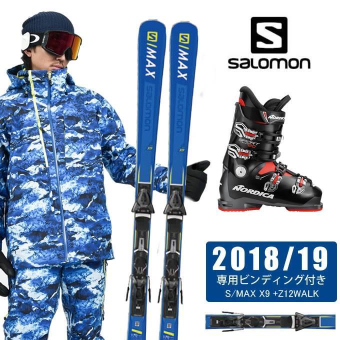 サロモン salomon スキー板 3点セット メンズ S/MAX X9 +Z12WALK + SPORTMACHINE 80 ANTBKRD スキー板+ビンディング+ブーツ