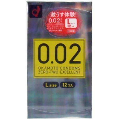 【送料無料】オカモト ゼロゼロツーエクセレント 薄さ均一 002EX Lサイズ 12個入 コンドーム 極薄 0.02mm  ×144点セット